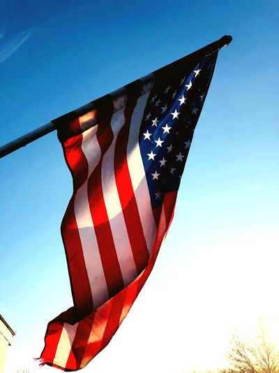 Flag White Blue Sky Low Angle View Blue Nature Flag Clear Sky Striped Red No People Day Outdoors Patriotism Freedom Shape Pattern Celebration
