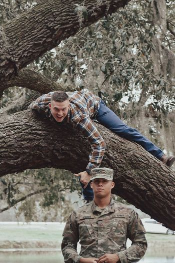 Young Adult Young Men Two People Smiling Military Uniform Looking At Camera Day Real People Young Women Men Happiness Outdoors Army Adult Portrait Army Soldier Adults Only Lifestyles People Military This Is Masculinity