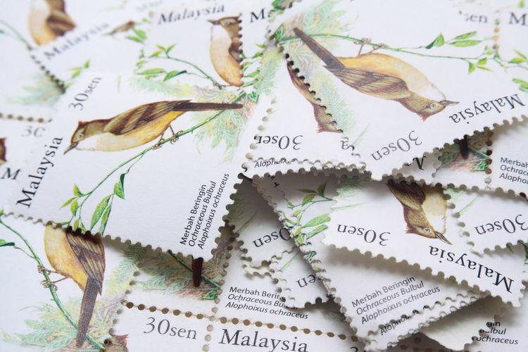 Full frame shot of postage stamps