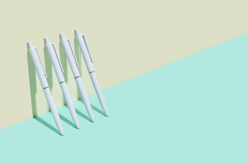 School and office supplies on isometric diagonal projection. back to school, minimalism. copy space