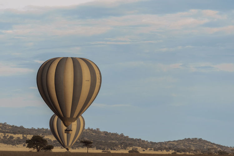 Hot air balloon flying over landscape against sky