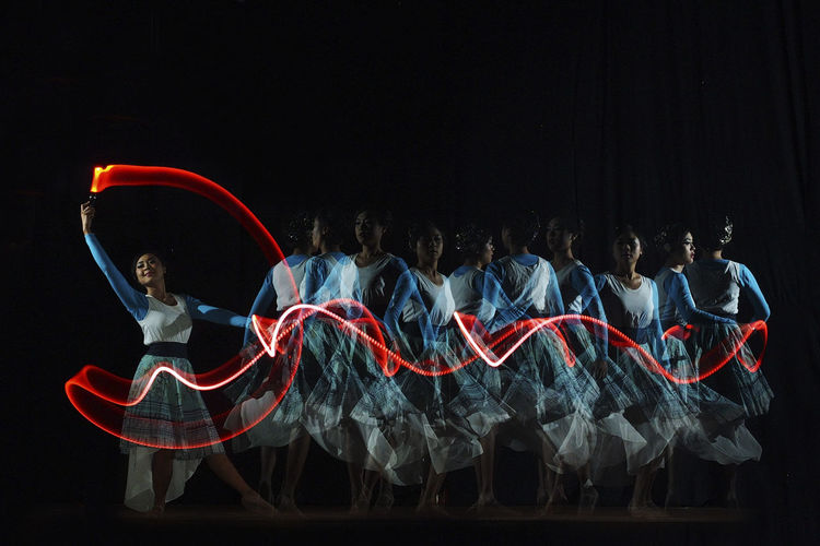 Ballet and Light Painting Black Background Colors INDONESIA Light Shadows & Lights Stage Ballet Girl Indoors  Indoors  Light And Shadow Motion Performance Shadow