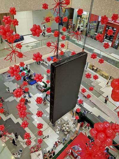 Red Indoors  Top Perspective Top View Balloons Redballoons