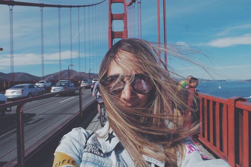 I left my heart in San Francisco. San Francisco Sky Suspension Bridge Golden Gate Bridge Golden Gate Bridge Sea Transportation Travel Destinations Long Hair Messy Hair People And Places The Portraitist - 2017 EyeEm Awards