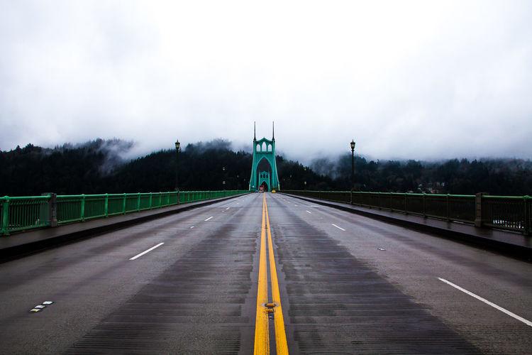 St Johns Bridge Against Sky During Foggy Weather