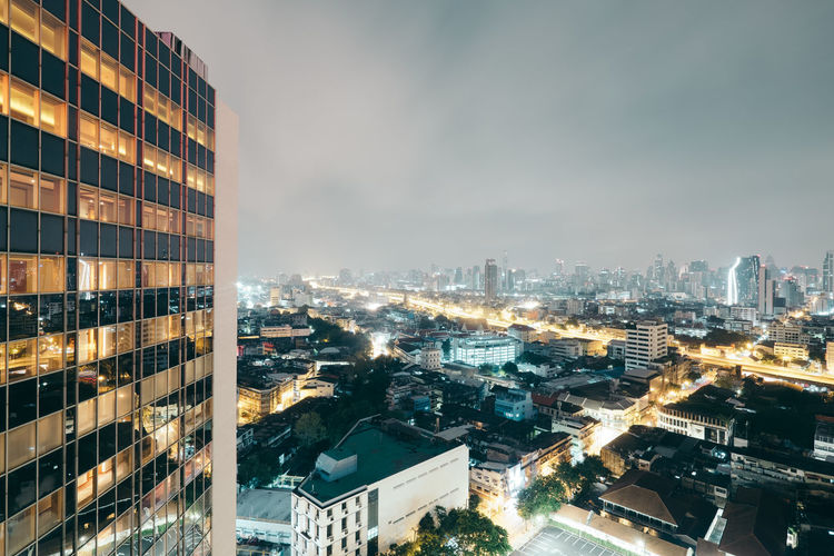 Bangkok at night Apartment Architecture Building Building Exterior Built Structure City Cityscape Cloud - Sky Crowd Crowded Financial District  High Angle View Illuminated Modern Nature Night Office Building Exterior Outdoors Residential District Sky Skyscraper