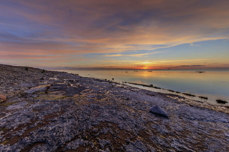Sunset over the Baltic Sea are often spectacular Baltic Sea Neptuni åkrar Sweden Tranquility Clouds And Sky Limestone No People Purple Sea And Sky Summer Sunset Tranquil Scene Vibrant Color Öland