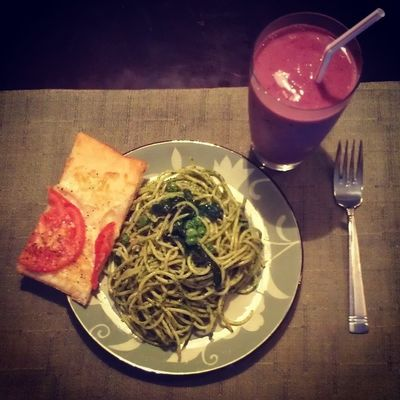 Spinach pesto, Peas Homemade Pizza margherita banana blueberry orange yogurt smoothie