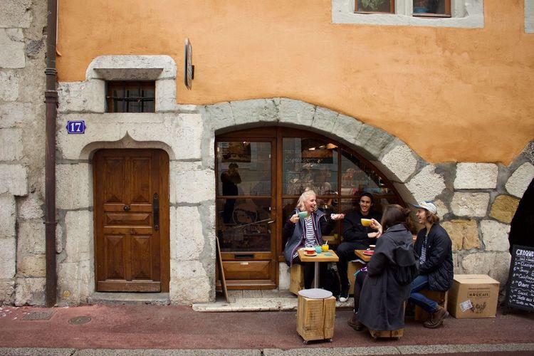 People standing by door