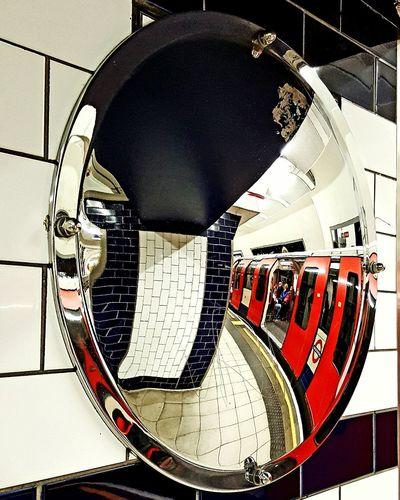 Close-up Convex Mirror Mirror Tube Tube Station  Train Station Platform Platform Public Transport Transport No People
