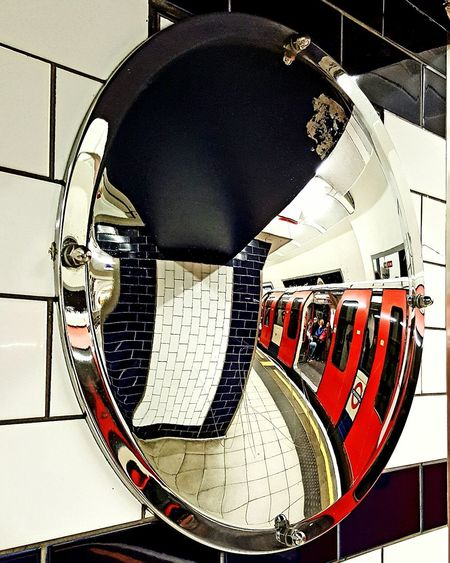 Close-up Convex Mirror Mirror Tube Tube Station  Train Station Platform Platform Public Transport Transport No People