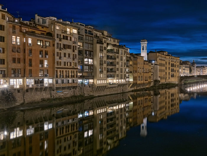 Arno River in Florence Water Reflection Architecture Building Exterior Building Illuminated Sky Night Travel Destinations River Blue Florence Firenze Italy Tuscany Blue Hour Arno  Arno River