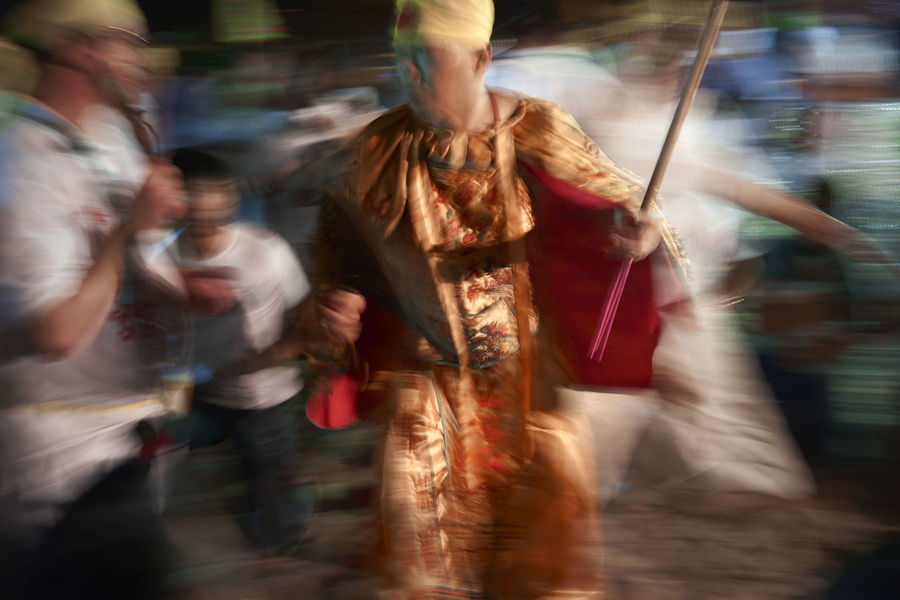 The Nine Emperor Gods Festival (九皇诞) is a nine days Taoist celebration beginning on the eve of 9th lunar month of the Chinese calendar Blur Blurred Motion Devotee God I Motion Nine Emperor Festival On The Move Religious  Sinagpore Slow Shutter Street Taoism Taoist Temple Walking