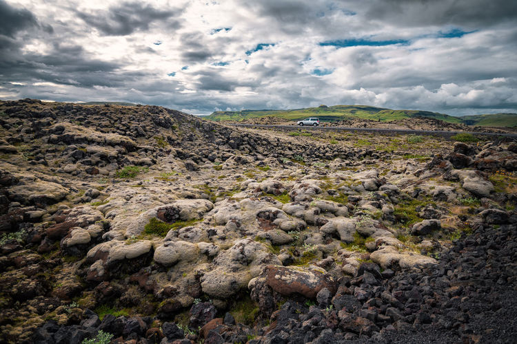 Volcanic mossy covered lava field in Vik ,Iceland. Field Grass Green Color Iceland Icelandic Lava Moss Sky Vik Volcanic Landscape Volcano