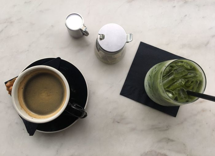 Coffe Time & Greentea Latte Coffee - Drink Indoors  Photography