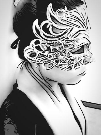 B&W Portrait My favorite disguise. Masquerademasks Cartoonized