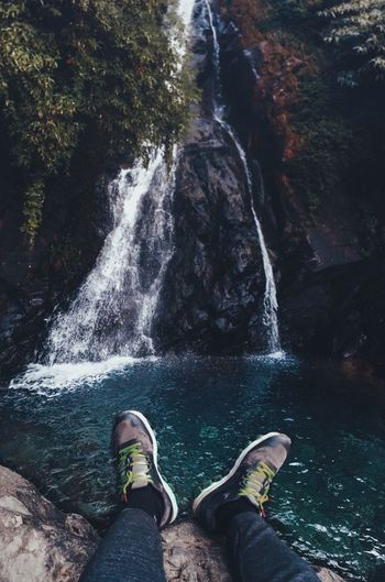 Mountains Blue EyeEm Best Shots EyeEmNewHere EyeEm Selects Low Section Human Leg Water Shoe Personal Perspective Human Body Part Real People One Person Body Part Lifestyles Nature Motion Standing Leisure Activity Day High Angle View Outdoors Flowing Water Human Foot Human Limb