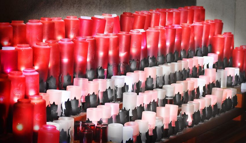 Candle Religion Large Group Of Objects Indoors  In A Row No People Abundance Side By Side Arrangement Red Repetition