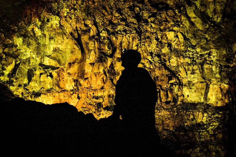 Silhouette of my friend standing at the bottom of Thrihnukagigur Volcano in Iceland. Silhouette Nature Crater, Icleland, Nature Outdoors Iceland, Volcano, Lava, Rock, Eruption, Travel, Adventure, Nature