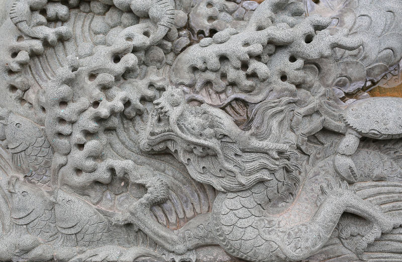 Close-up of animal statue in temple
