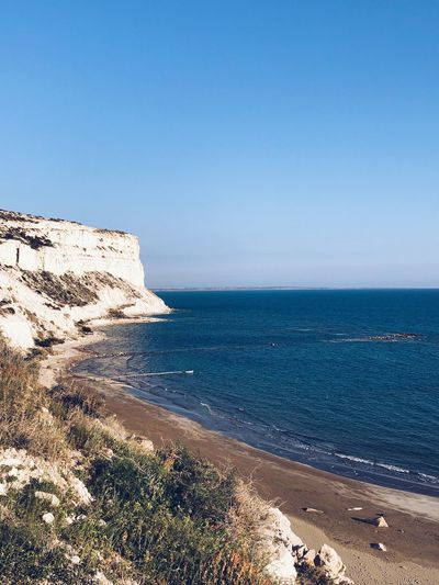 Zapalo cliffs Grass Cliff Zapalo Episkopi Cyprus Sea Beach Water Nature Horizon Over Water Scenics Tranquility Beauty In Nature Clear Sky Outdoors Day Blue No People