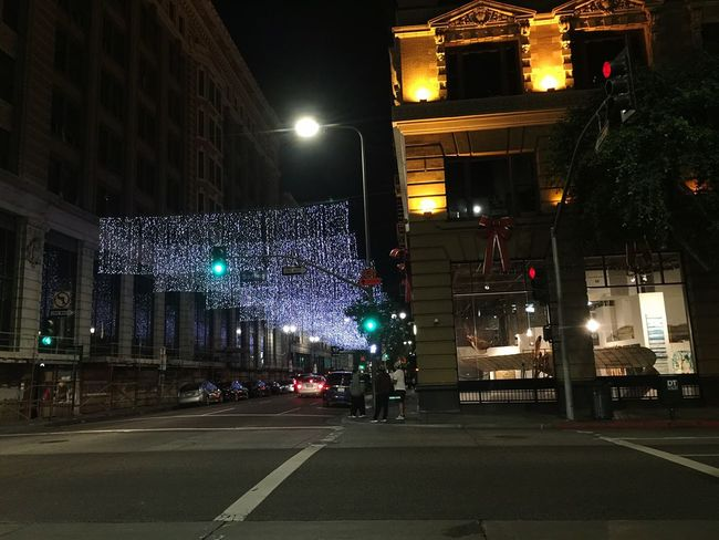 Tourist Illuminated Lighting Equipment Night City Street Light Christmas Decoration Christmas Lights Enjoying Life Downtown Los Angeles Believe Followme Relaxing Like4like Smile Hanging Out