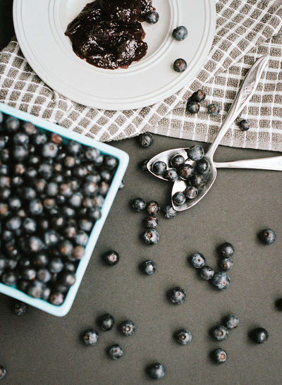 blueberry and blueberry jam Abundance Blueberry Blueberry Pie Bowl Close-up Day Food Food And Drink Freshness Fruit Good Morning Healthy Healthy Eating Healthy Lifestyle High Angle View Indoors  Large Group Of Objects No People Table