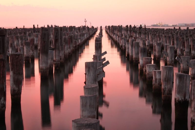 Sunrise Princes Pier Waterfront Water Sea Tranquil Scene Tranquility Victoria Australia Outdoors Beauty In Nature Landscape No People