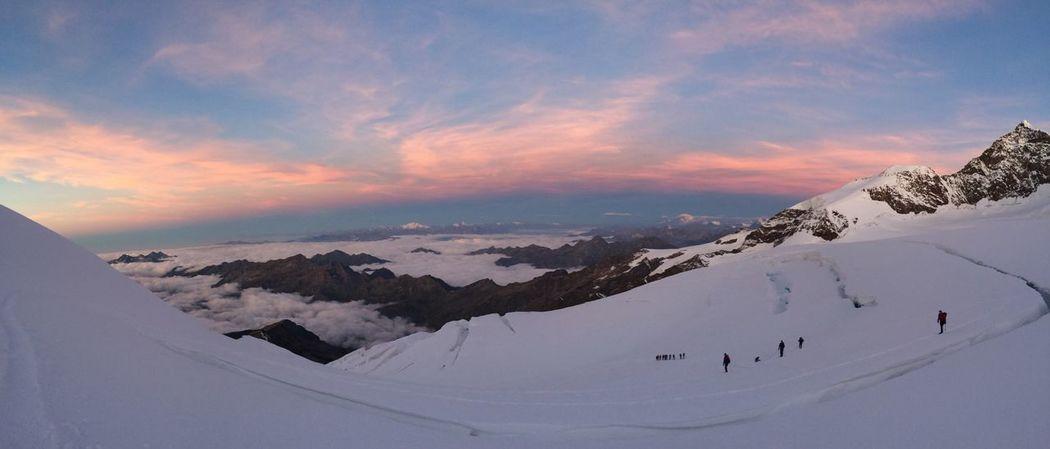 Sunrise Mountain Monte Rosa Morning Sky Altitude Alpine Snow Covered Pink Sky