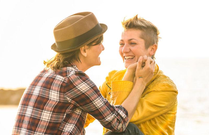 Happy lesbian couple at park