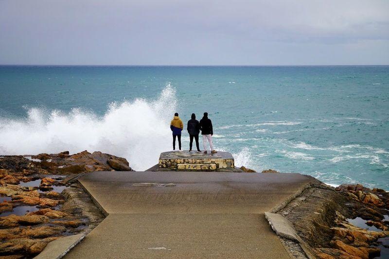 Atlantic Ocean Acoruña Coruña Galicia Galicia, Spain Storm Top View Water Sea Full Length Togetherness Beach Men Wave Friendship Silhouette Horizon Over Water Shore Rushing Ocean Seaside Seashore Coastline Groyne Surf Focus On The Story