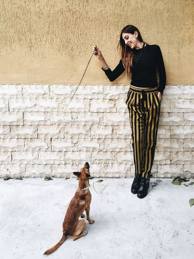 Happy Young Woman Showing Stick To Puppy While Leaning On Wall