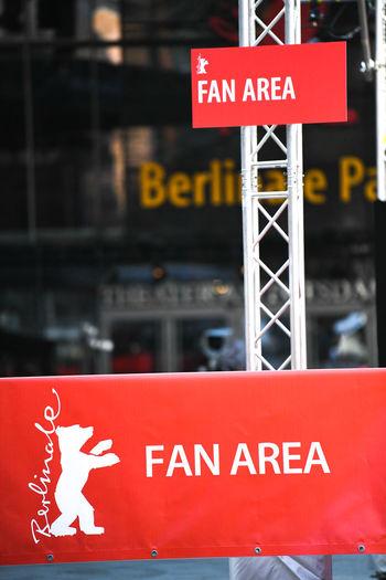 Berlin, Germany - February 15, 2018: Fan area outside the Berlinale Palast in Potsdamer Platz Celebrity Famous Fan Area Film Festival Golden Bear Berlinale Berlinale 2018 Berlinale Festival Berlinale2018 Berlinale68 Emblem  Fans Festival Film Festivals Symbol