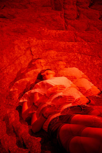 Future Eyes Lens Lomography Prism Prism Art Redscale Red Filter Red Indoors  Bed One Person Furniture Human Body Part Relaxation Sleeping High Angle View Lying Down Textile Real People Clothing Architecture Comfortable Leisure Activity Bedroom Body Part