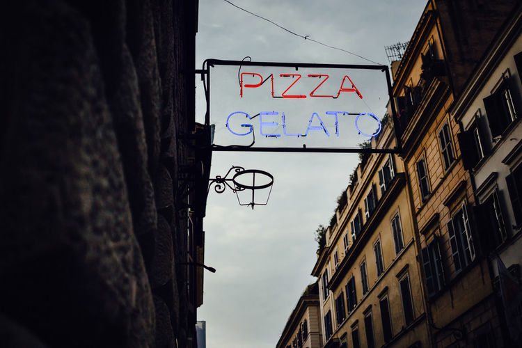Advertising Rome Architecture Building Exterior Built Structure Close-up Communication Ice Cream Neon Neon Lights Old Buildings Pizza Restaurant Shop Sky Text Via Del Babuino