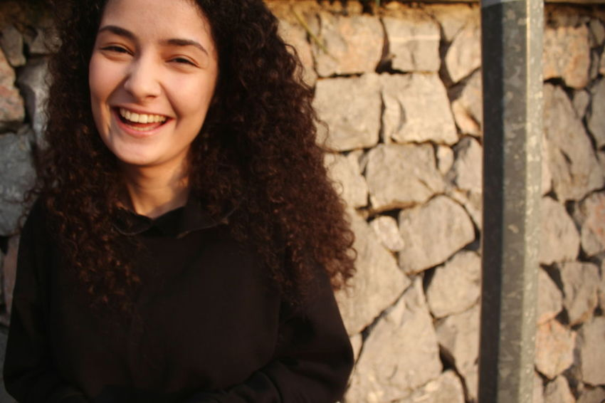 Happy! Portrait Smiling Beautiful Woman Happiness Young Women Beauty Curly Hair Headshot Looking At Camera Cheerful Friend