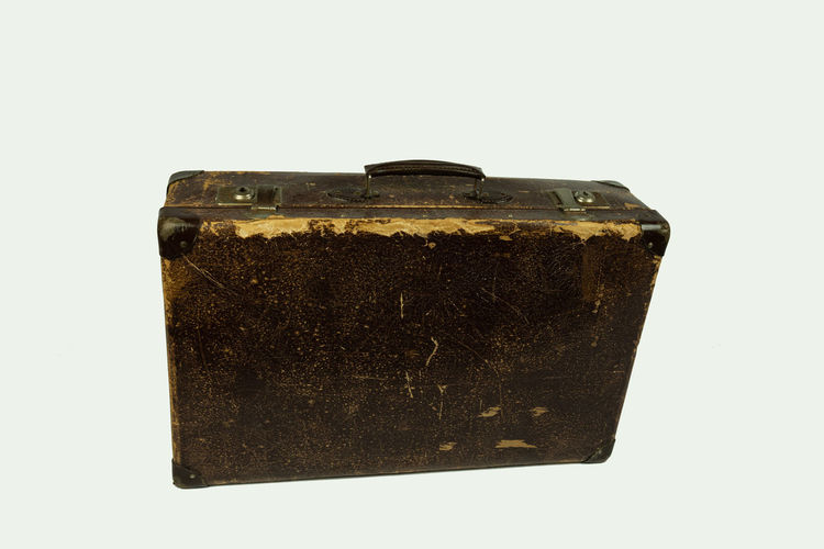 old vintage leather suitcase Studio Shot Indoors  White Background Cut Out Close-up Single Object Still Life Brown Copy Space Retro Styled Old Vintage Suitcase Travel Destination Vacation Away Leather Classic