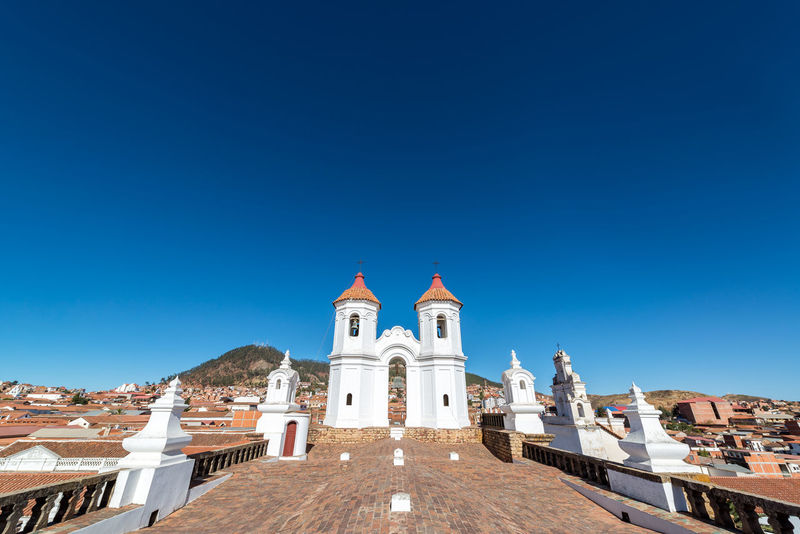 View of the roof of the San Felipe Neri convent in Sucre, Bolivia America Andes Architecture Background Bolivia Bolivian Building Capital Church City Cityscape Culture Day House Landmark Landscape Latin Outdoors South Street Sucre Town Travel Urban View