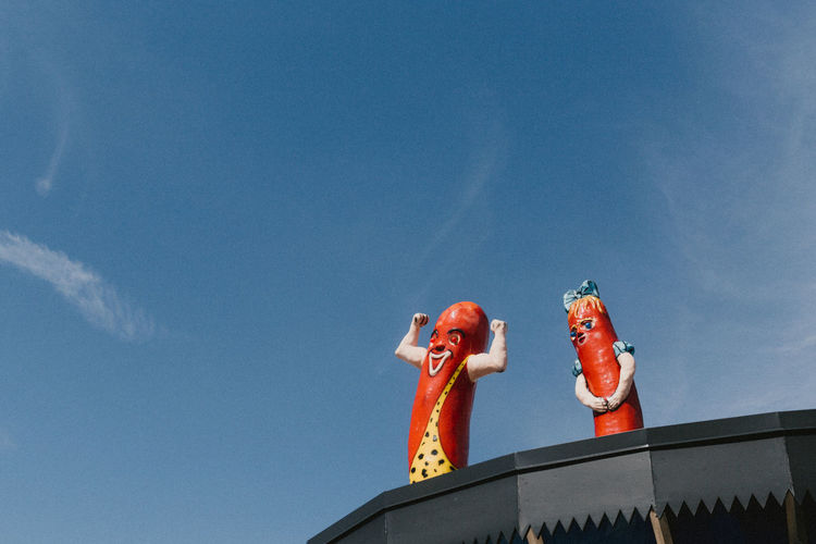 Day HotDog Low Angle View No People Outdoors Sculpture Sky Statue Superdawg