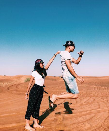 Stay here! Couple Couple - Relationship Dubai Dubaidesertsafari Desert Young Adult Sand Dune Two People First Eyeem Photo