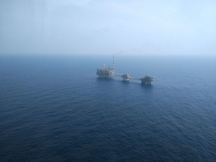 Sunny day Water Sea Nature No People Outdoors Beauty In Nature Offshore Life Platform Oil Rig Oil And Gas View