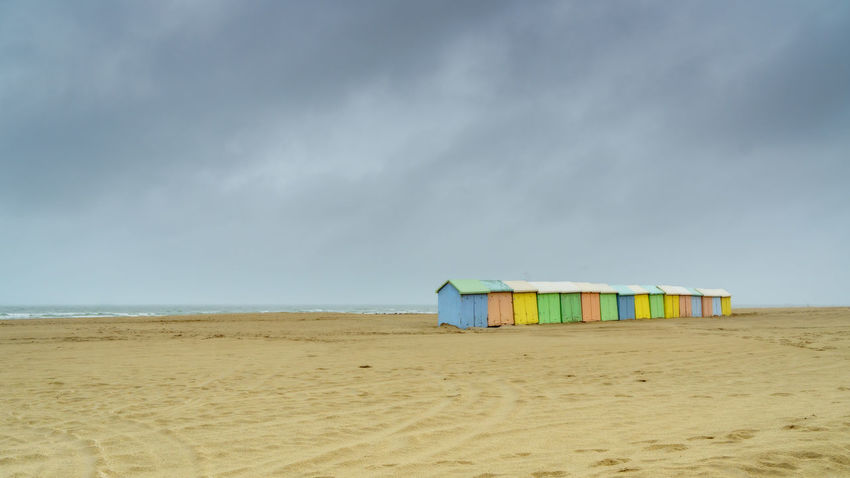 Summer at the beach Beach Cabins  Cloud - Sky Horizon Over Water No People Sand Sea Sky Vacations