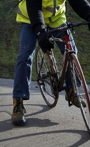 9986 Adult Athlete Bicycle Cornering Cycling Day Foot Down Gloves Healthy Lifestyle Hi Viz Hi Viz Jacket In Motion Jeans Low Section One Man Only One Person Only Men Outdoors Pedal People Shadows Sportsman Sunlight Work Boots The Street Photographer - 2017 EyeEm Awards Live For The Story