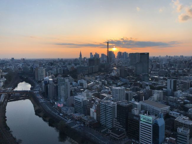 From Above  Tokyo Buildings & Sky City Cityscape River Skyscraper Sunset