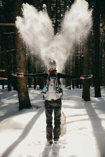 The girl and the snowing Mountain Playing Happy Happiness Forest Woods Snowing ❄ Snowing Heart Love Outdoors Architecture Tree Warm Clothing Day Nature Leisure Activity Lifestyles Standing Real People Snow Cold Temperature Motion Winter One Person