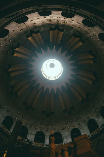 Church of the Holy Sepulchre Indoors  No People Ceiling Dome Pattern Illuminated Architecture Built Structure Lighting Equipment Low Angle View Design Cupola Building Religion Shape Electric Light Place Of Worship Directly Below Light Ornate Luxury Electric Lamp