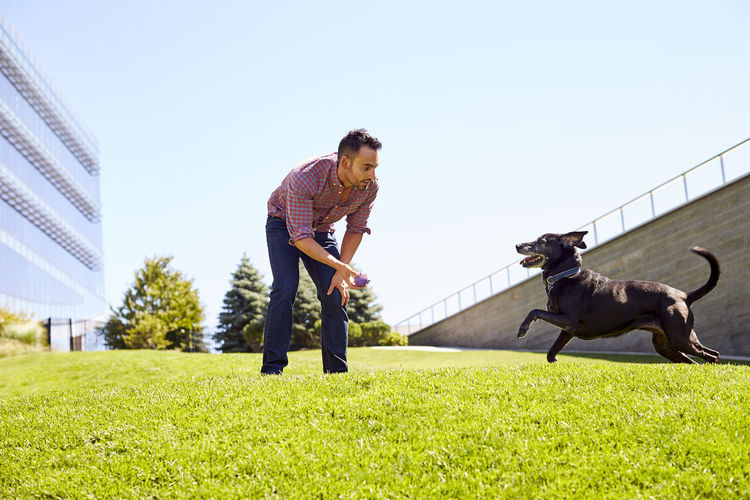 Man with dog on grass against sky