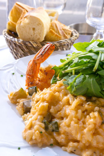 Close-up of risotto in plate