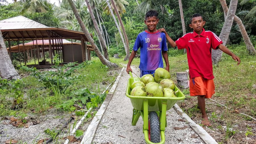 Picking up coconuts..| Kids Smiling Delivery Daily Life Everyday Indonesia Human Interest Exploreindonesia Wonderful Indonesia Pesona Indonesia Halmahera Selatan Island Hopping Mobile Photography Galaxy Note 5