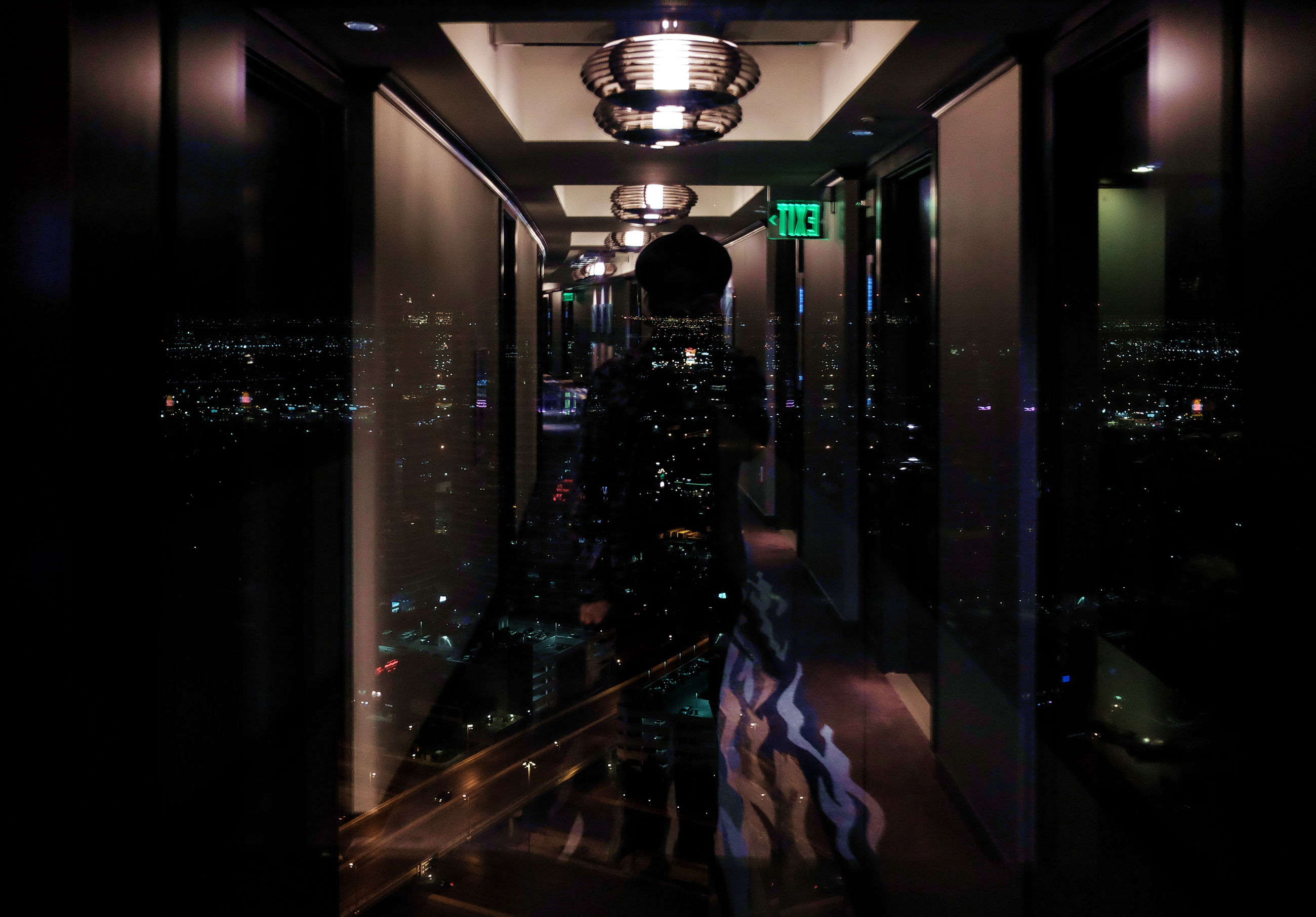 illuminated, night, indoors, reflection, architecture, built structure, modern, no people, city
